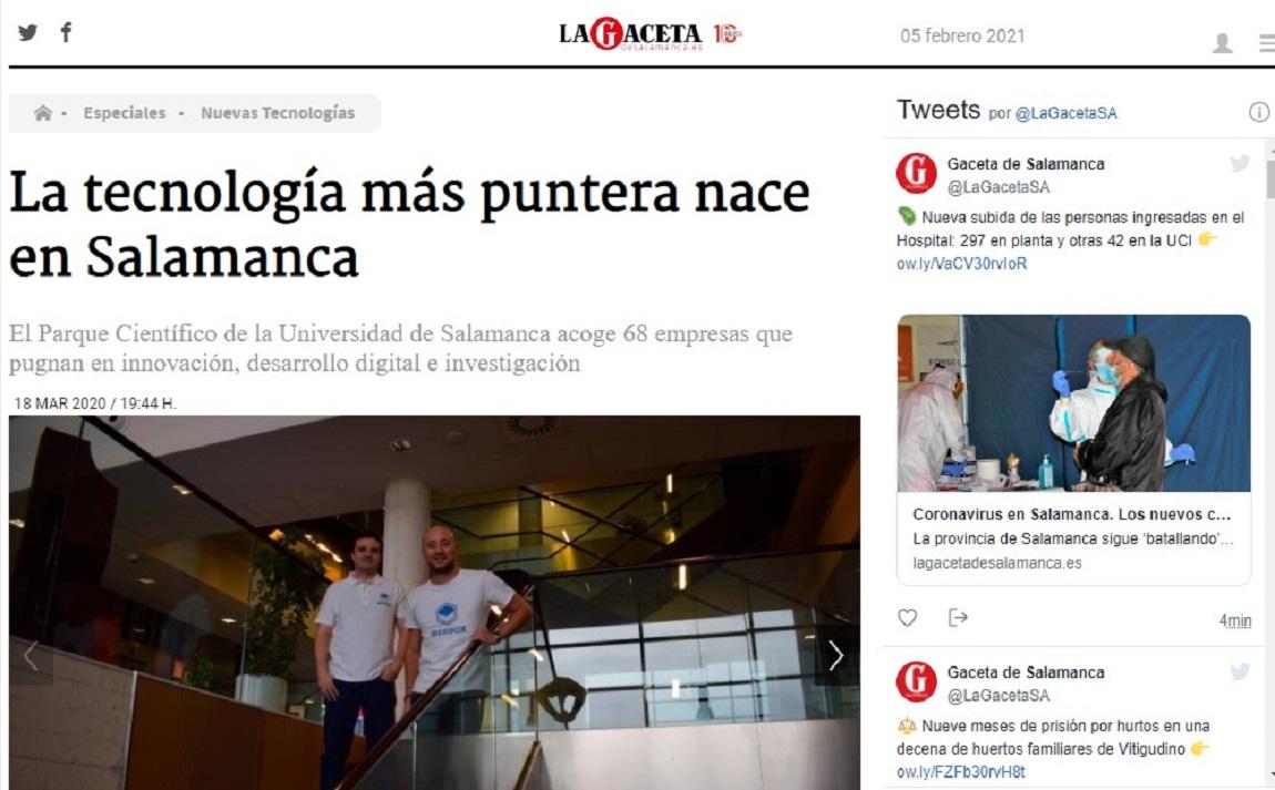 Glifing en La Gaceta de Salamanca-18/03/2020 gabinete de prensa
