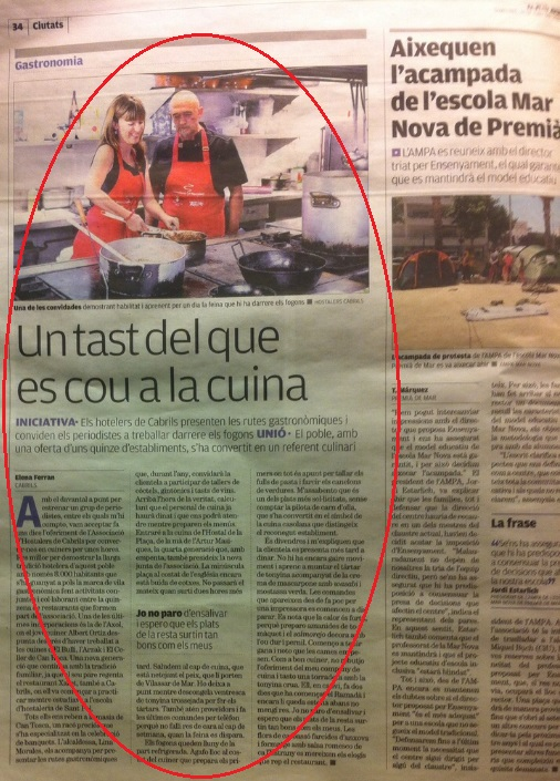 Ruta Gastronòmica Cabrils - El Punt Avui, Juny 2015 gabinete de prensa
