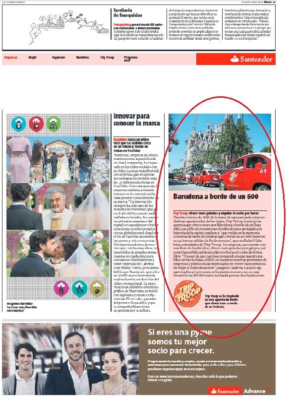 Trip Troop - La Vanguardia, Octubre 2016 gabinete de prensa
