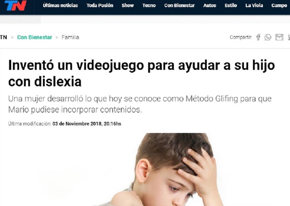 Glifing en TN de Argentina - 03/11/2018 gabinete de prensa
