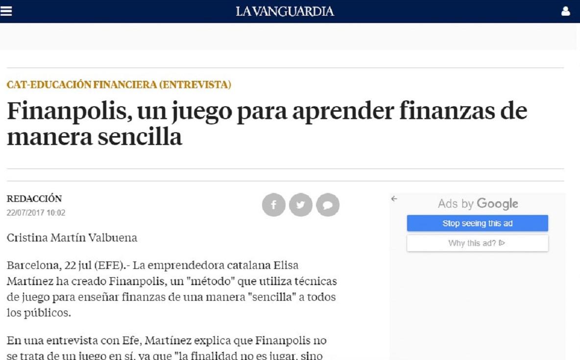 Finanpolis en la Vanguardia -22/07/2017 gabinete de prensa