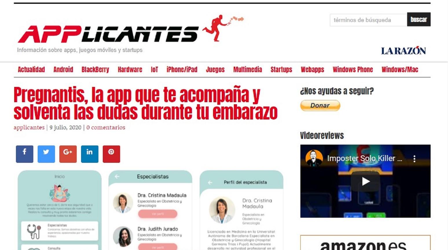 """Pregnantis en """"Applicantes""""-09/07/2020 gabinete de prensa"""