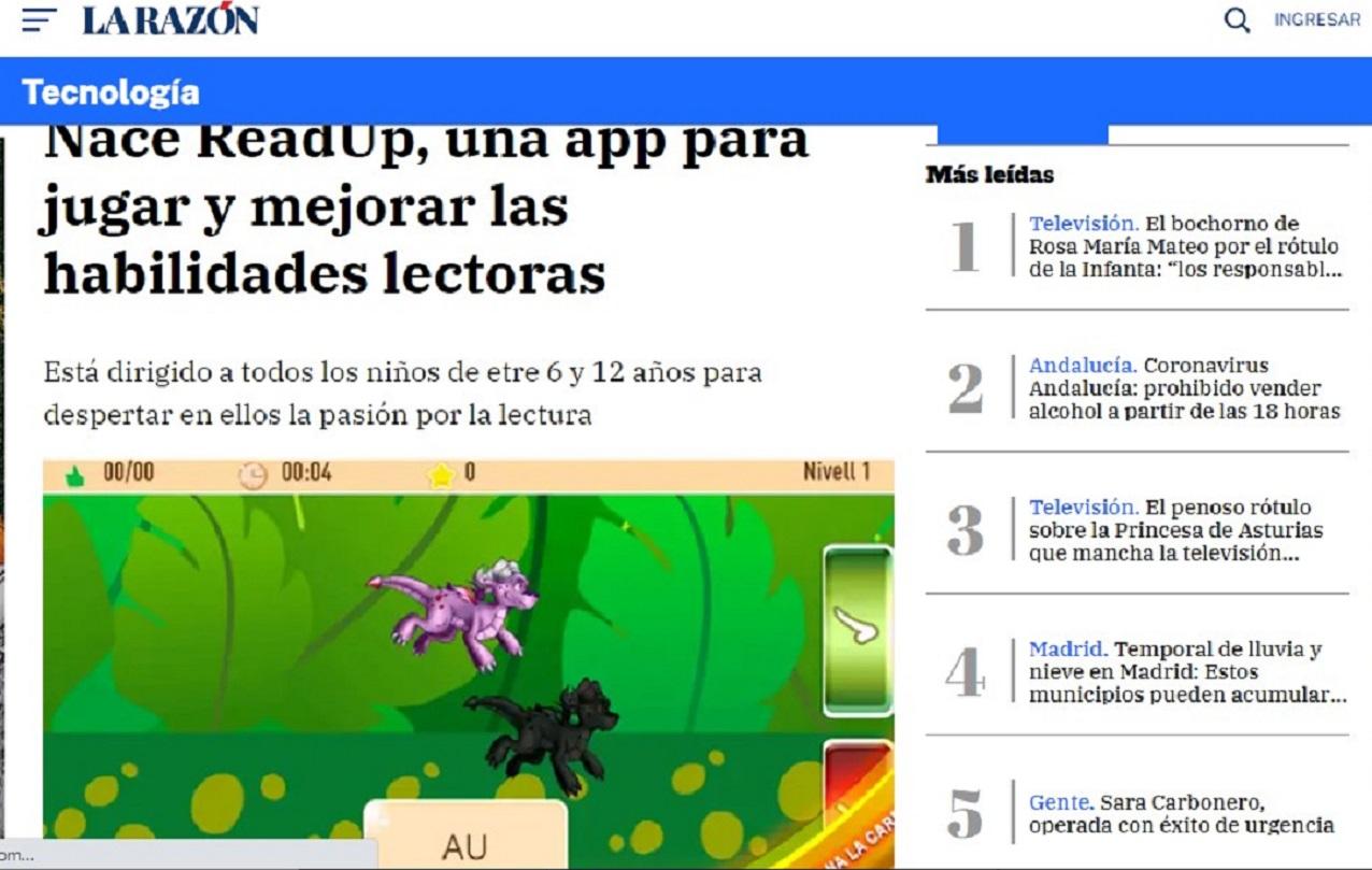 Glifing y su nuevo juego ReadUp en La Razón -12/02/2020 gabinete de prensa