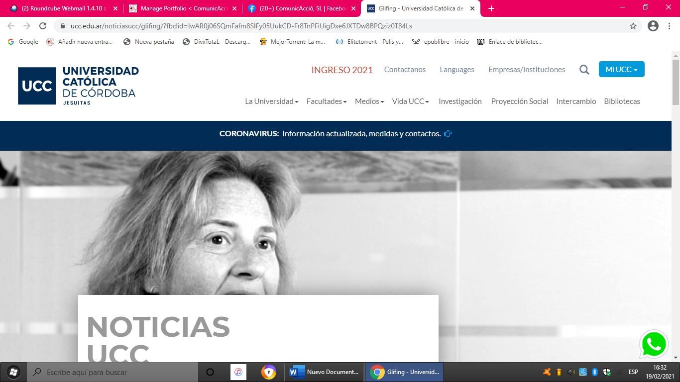 Glifing, entrevistada en la Universidad Católica de Córdoba (Argentina)- 20/05/2019 gabinete de prensa