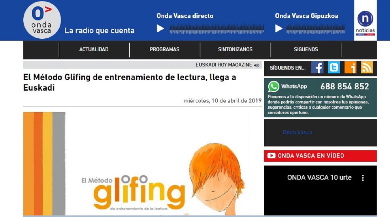 "Glifing en ""Euskadi Hoy Magazine"" de Onda Vasca -10/04/2019 gabinete de prensa"