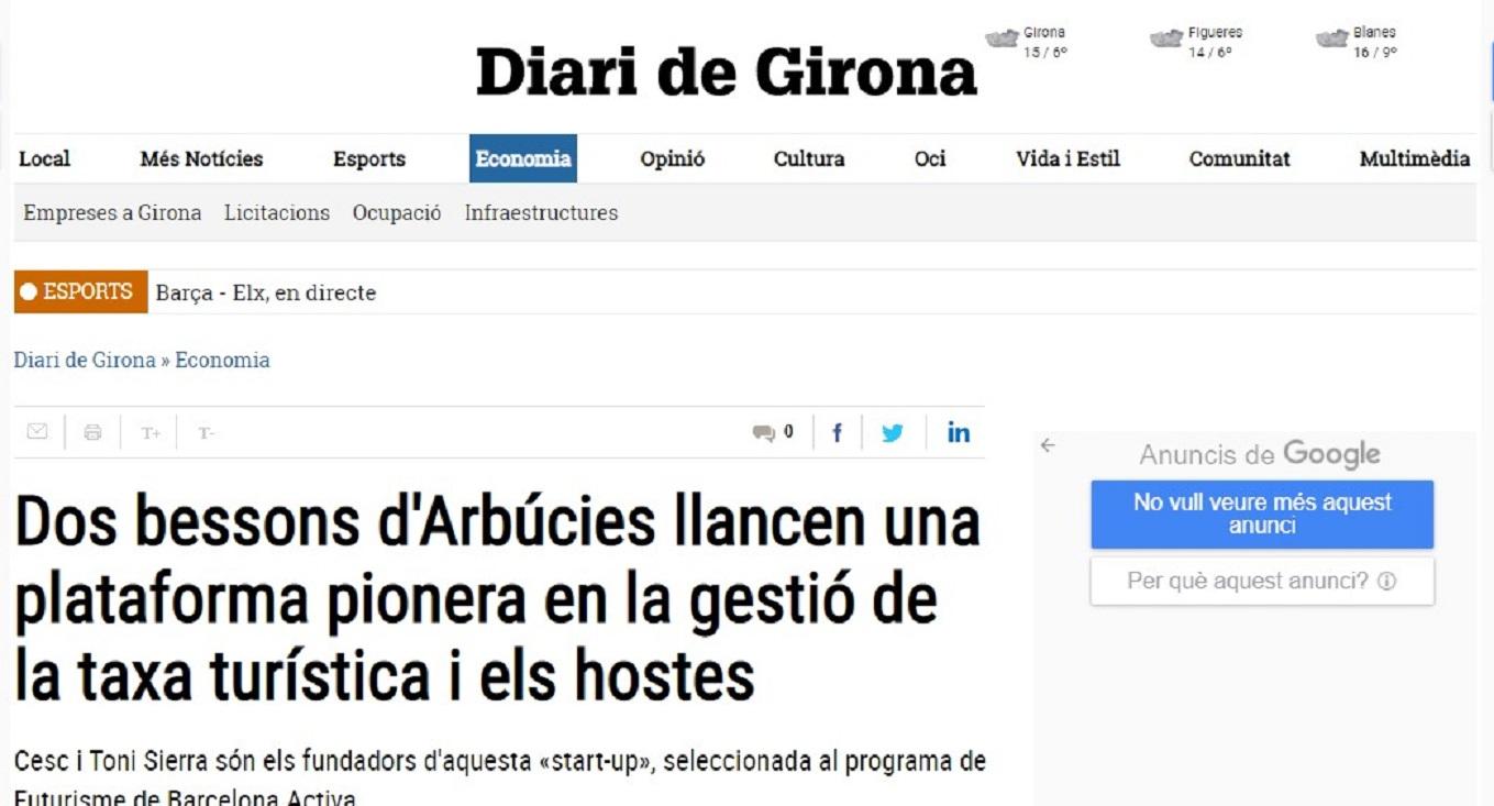 """GES4T en el """"Diari de Girona""""- 01/12/2018 gabinete de prensa"""