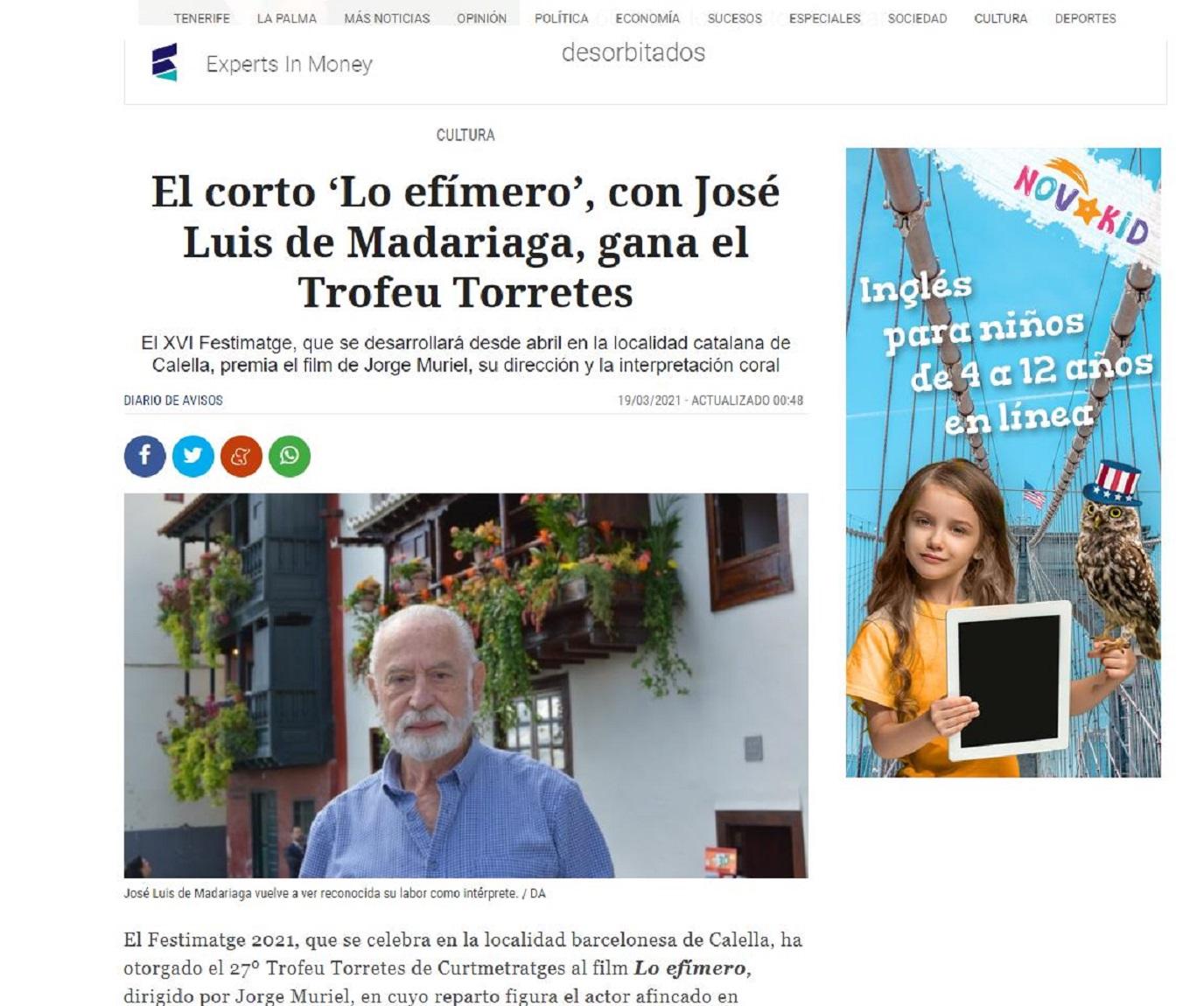 El FESTIMATGE, Festival de la Imagen de Calella (Barcelona) en Diario de Avisos-19/03/2021 gabinete de prensa