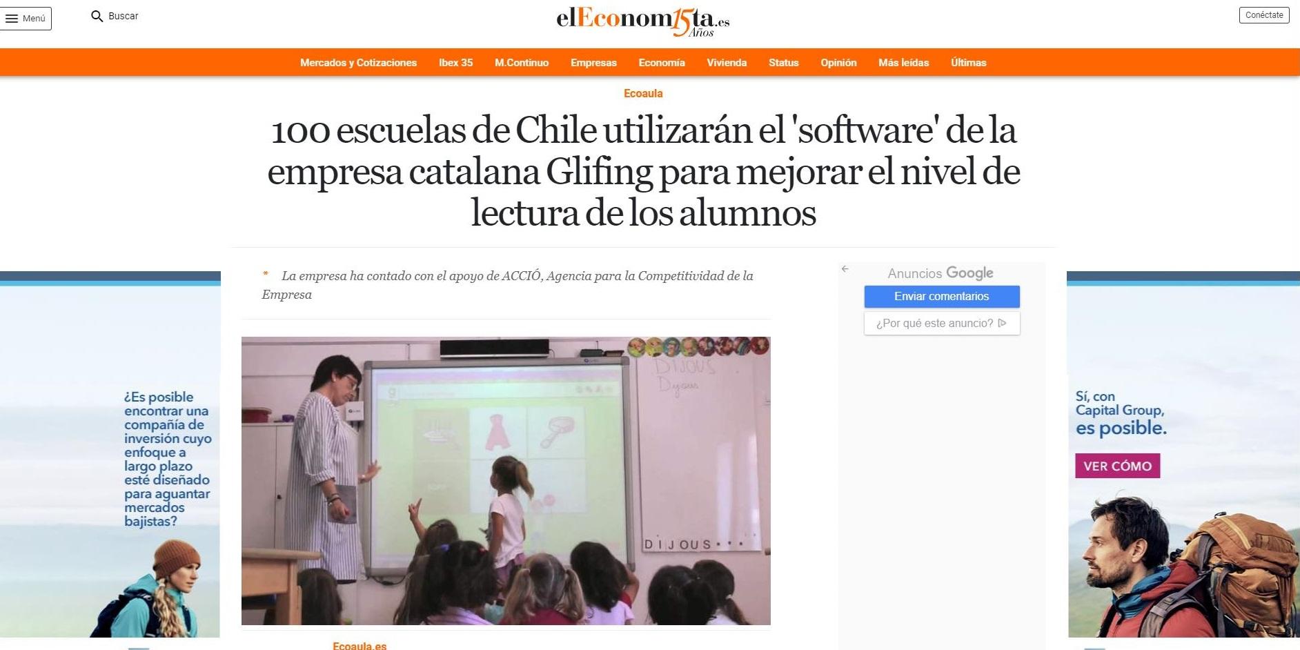 Glifing en el espacio Ecoaula de El Economista - 22/03/2021 gabinete de prensa