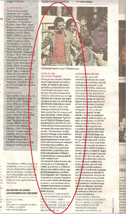 Festimatge - Magazine de La Vanguardia, Abril 2013 gabinete de prensa