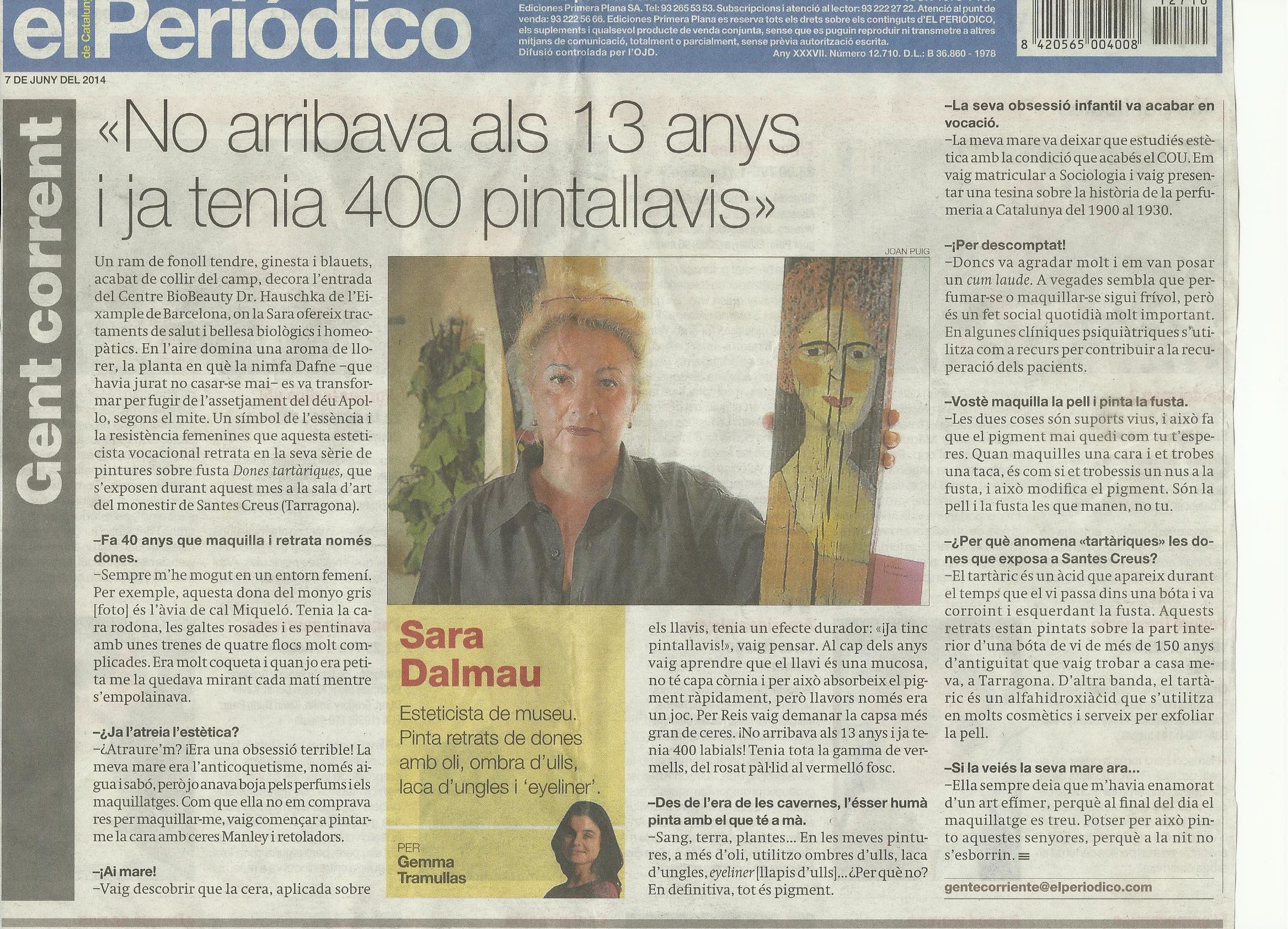 Sara Dalmau -El Periodico, Junio 2014 gabinete de prensa