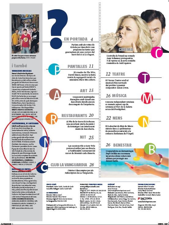"""Muestra Gastronómica Cabrils - """"Què Fem de La Vanguardia"""", Agosto 2014 gabinete de prensa"""