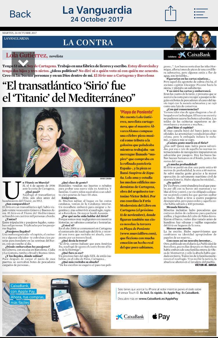 Lola Gutiérrez, artista -La Contra de la Vanguardia, Octubre 2017 gabinete de prensa