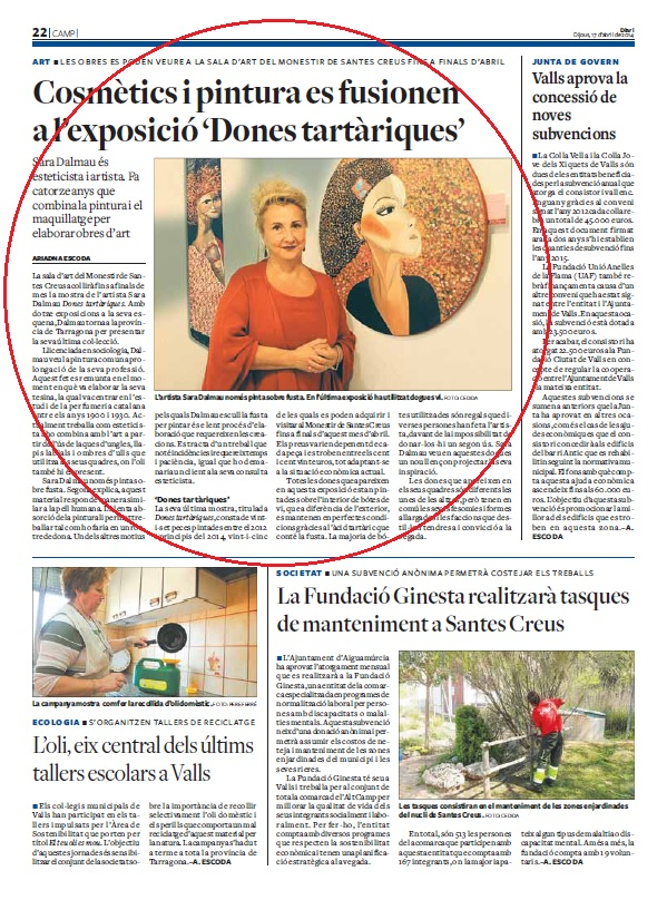 Sara Dalmau, artista – Diari de Tarragona, Abril 2014 gabinete de prensa