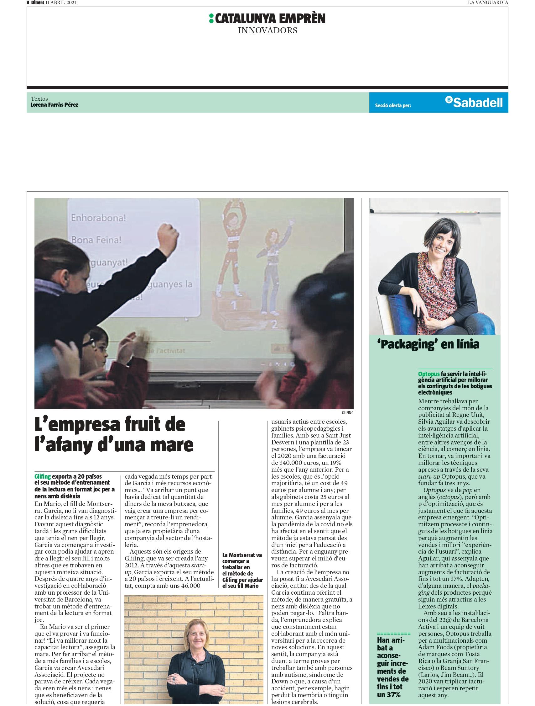 Glifing- Sup.Catalunya Emprèn La Vanguardia, Abril 2021 gabinete de prensa