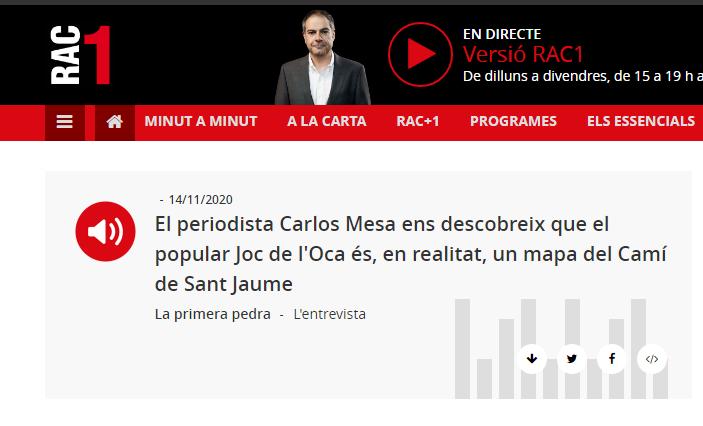 """Carlos Mesa de Planeta Insólito en """"La Primera Pedra"""" de RAC1- 14/11/2020 gabinete de prensa"""