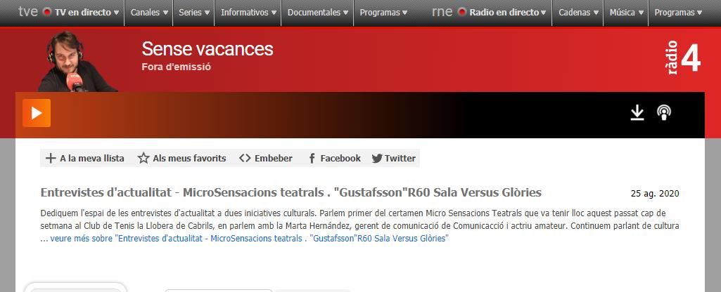 "Marta Hernández de MicroSensacions Teatrals en ""Sense Vacances de Ràdio 4"" - 25/08/2020 gabinete de prensa"