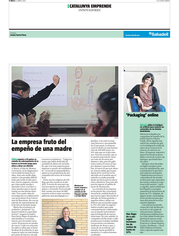Glifing -Suplemento Cataluña Emprende la Vanguardia, Abril 2021 gabinete de prensa