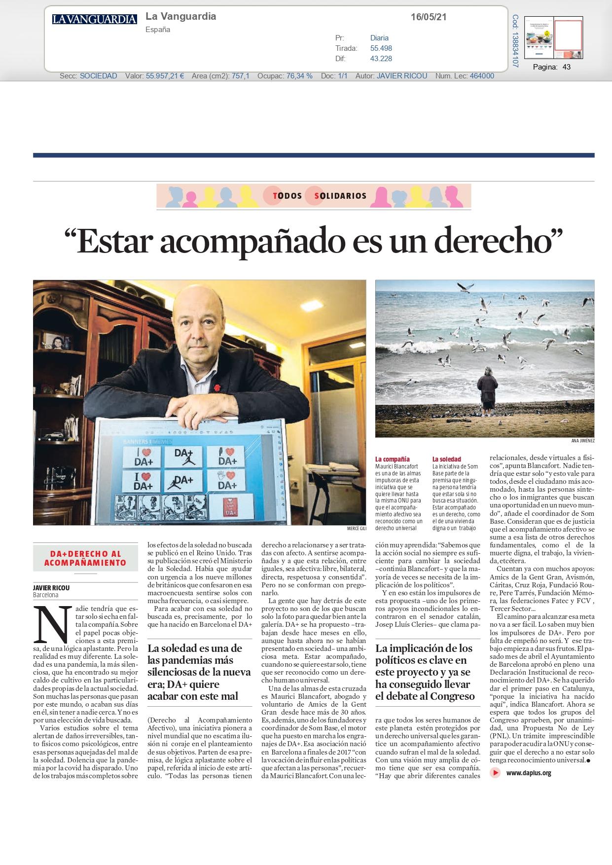 Som Base – La Vanguardia, Mayo 2021 gabinete de prensa