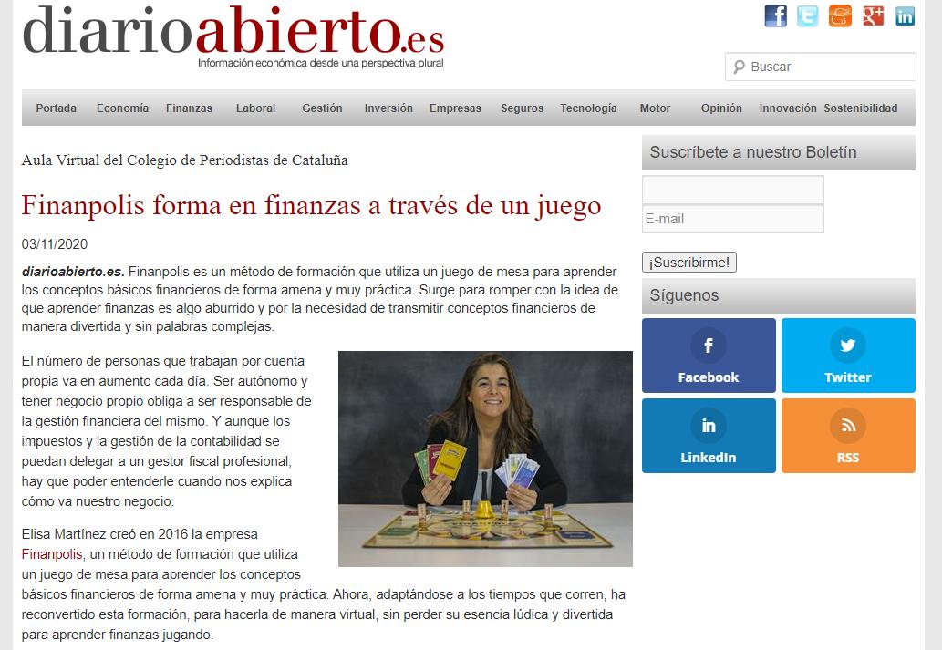 Finanpolis a Diario Abierto - 03/11/20 gabinete de prensa