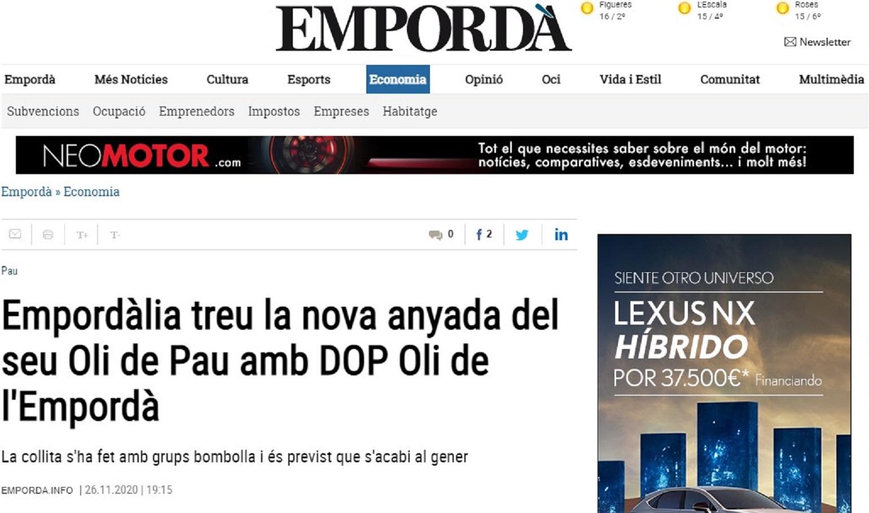 """Empordalia en el """"Diari Emporda"""" - 26/11/2020 gabinete de prensa"""