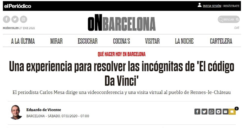 El periodista Carlos Mesa de Planeta Insólito en el Periodico On Barcelona - 07/10/2020 gabinete de prensa