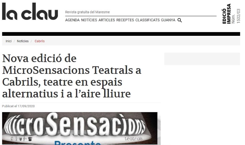 "MicroSensacions Teatrals en "" La Clau""- 17/09/2020 gabinete de prensa"