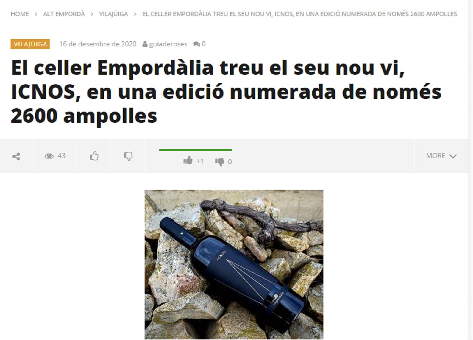 """Empordàlia en el """"Diari digital de Roses i L'Alt Emporda"""" - 16/12/2020 gabinete de prensa"""