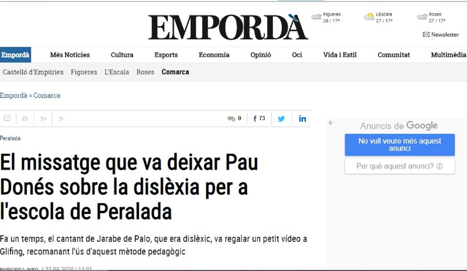 """Glifing en""""Empordà"""" - 23/09/2020 gabinete de prensa"""