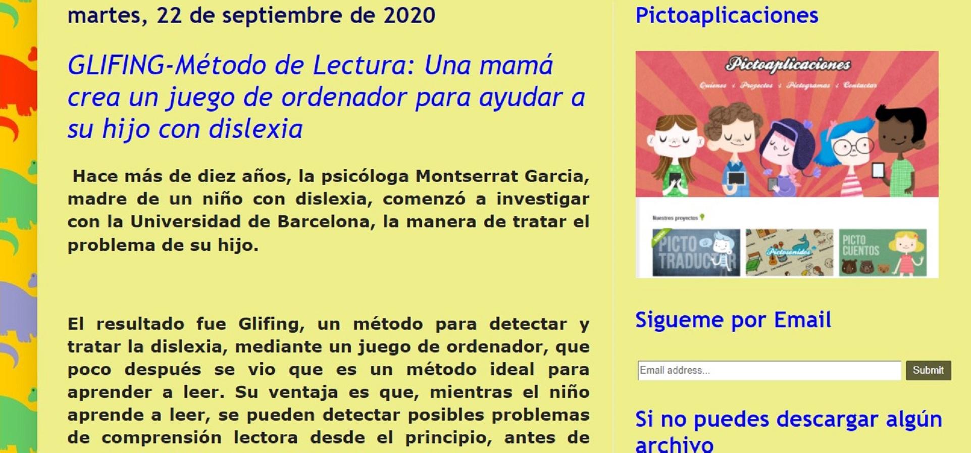"""Glifing en el """"Blog Logopedia"""" - 22/09/2020 gabinete de prensa"""