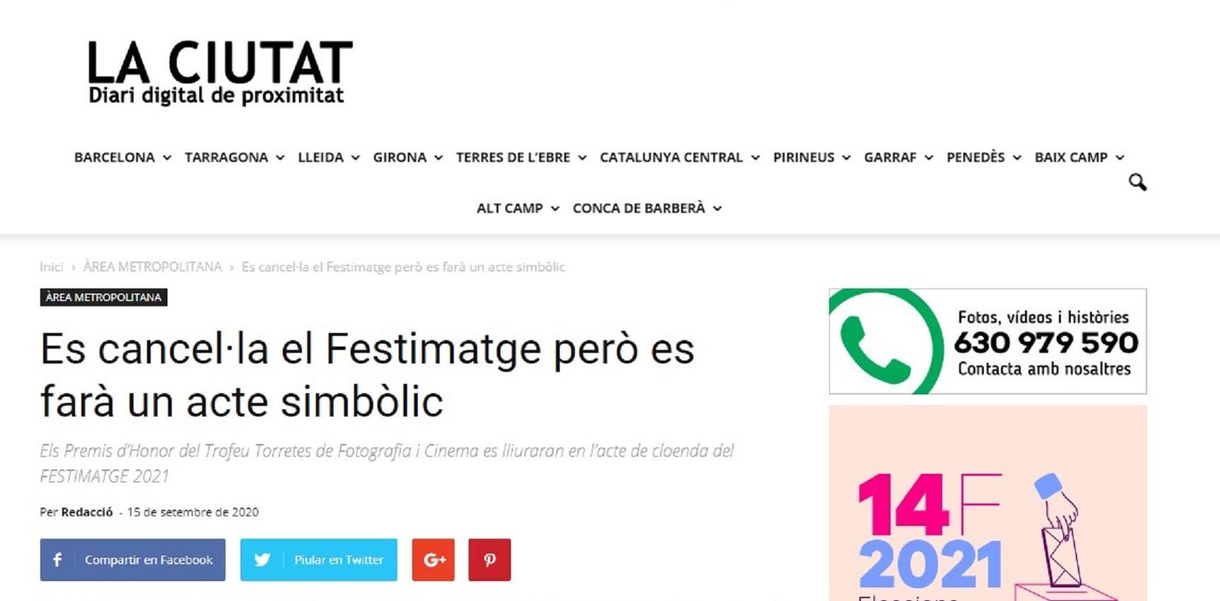 "Festimatge en ""La ciutat"" diario digital de proximidad - 15/09/2020 gabinete de prensa"