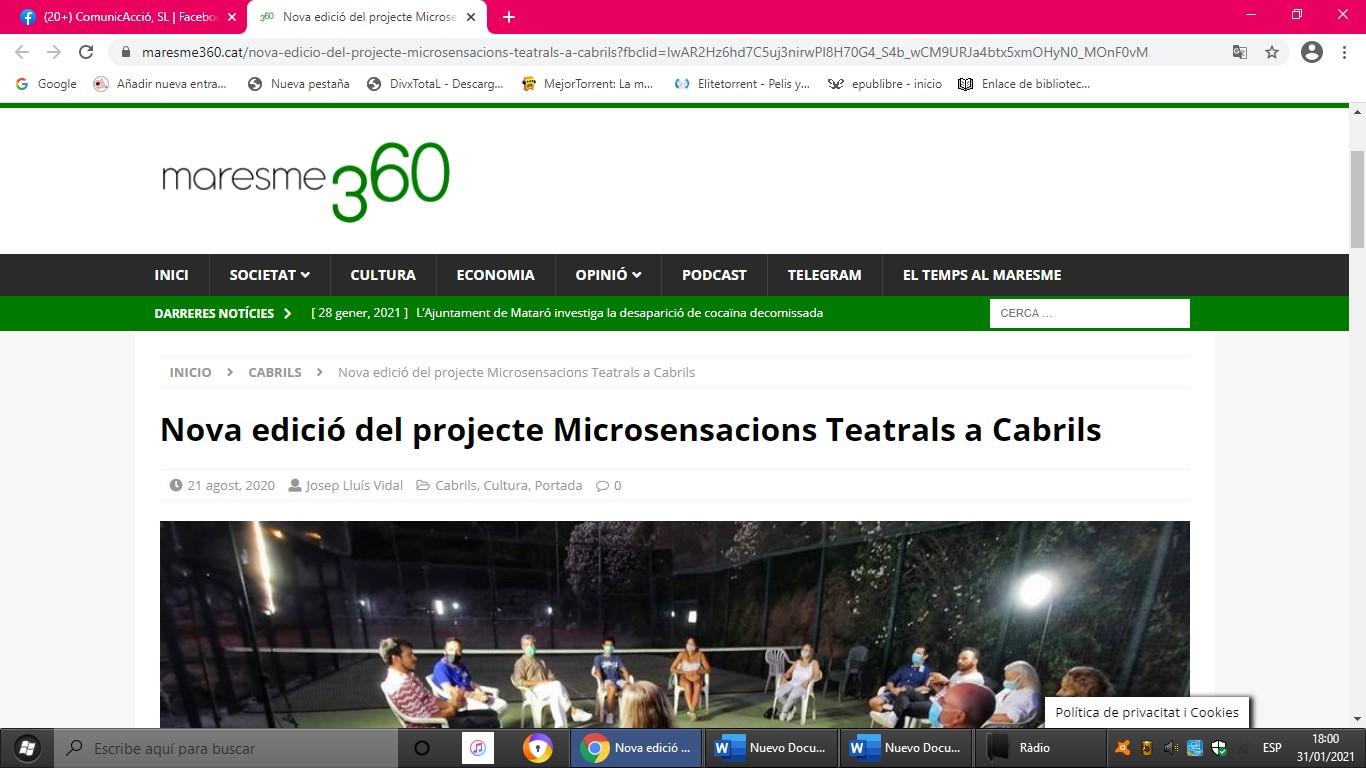 """MicroSensacions Teatrals en """"Maresme360""""- 21/08/2020 gabinete de prensa"""