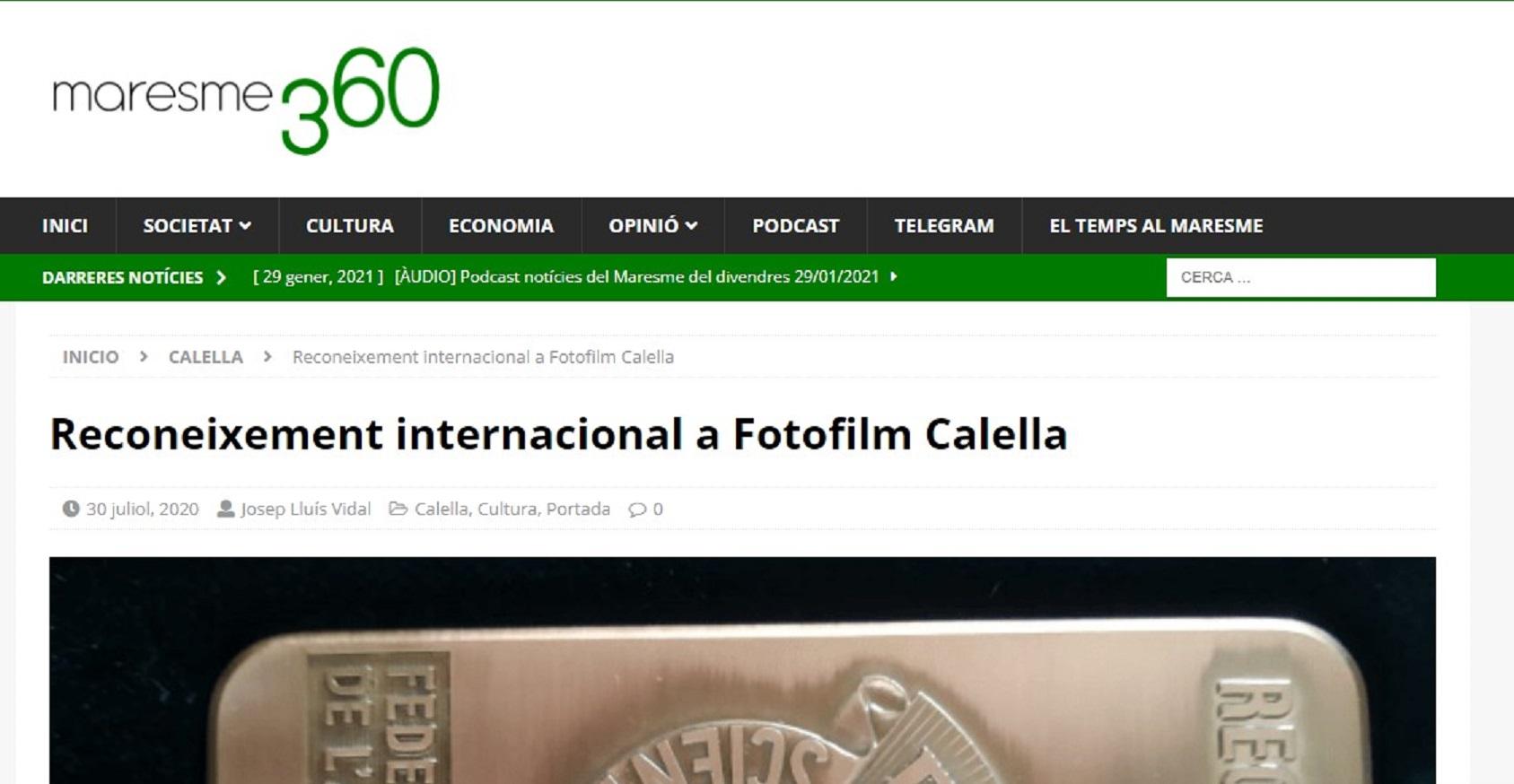 """Foto-Film Calella en """"Maresme360"""" - 30/07/2020 gabinete de prensa"""