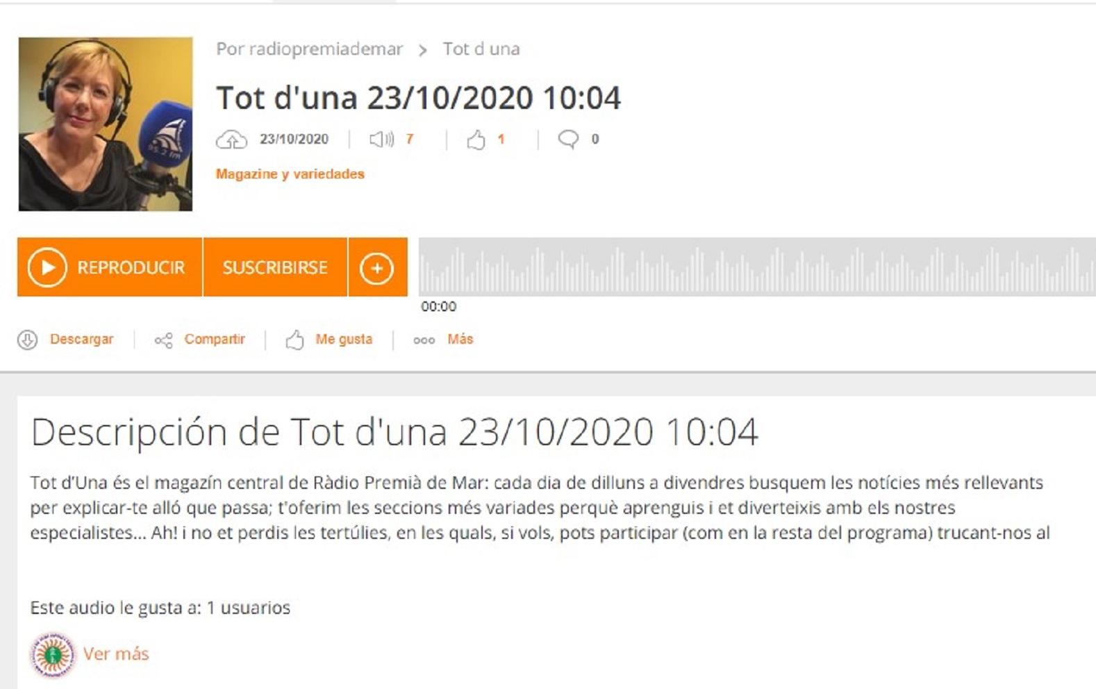 """Taller de Tantra y Sexualidad Taoista en"""" ivoox"""" - 23/10/2020 gabinete de prensa"""