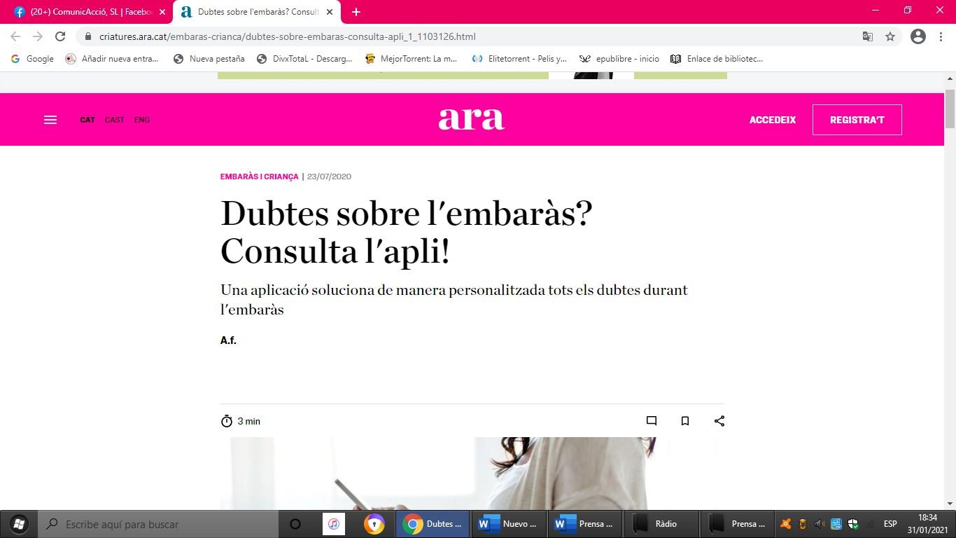 """Pregnantis en """"Criatures """" del Diario ARA - 23/07/2020 gabinete de prensa"""