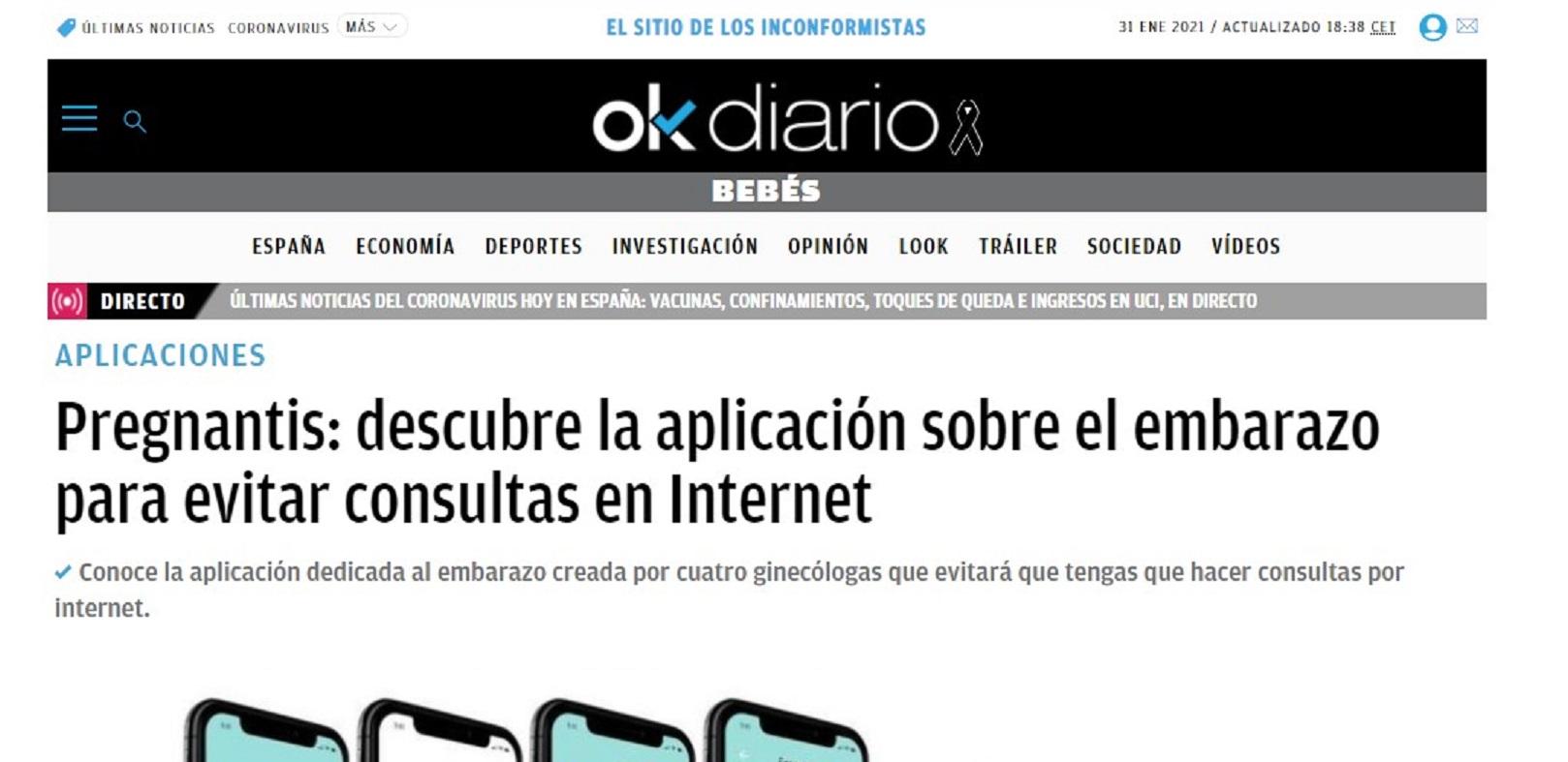 """Pregnantis en """"OK Diario""""- 14/07/2020 gabinete de prensa"""