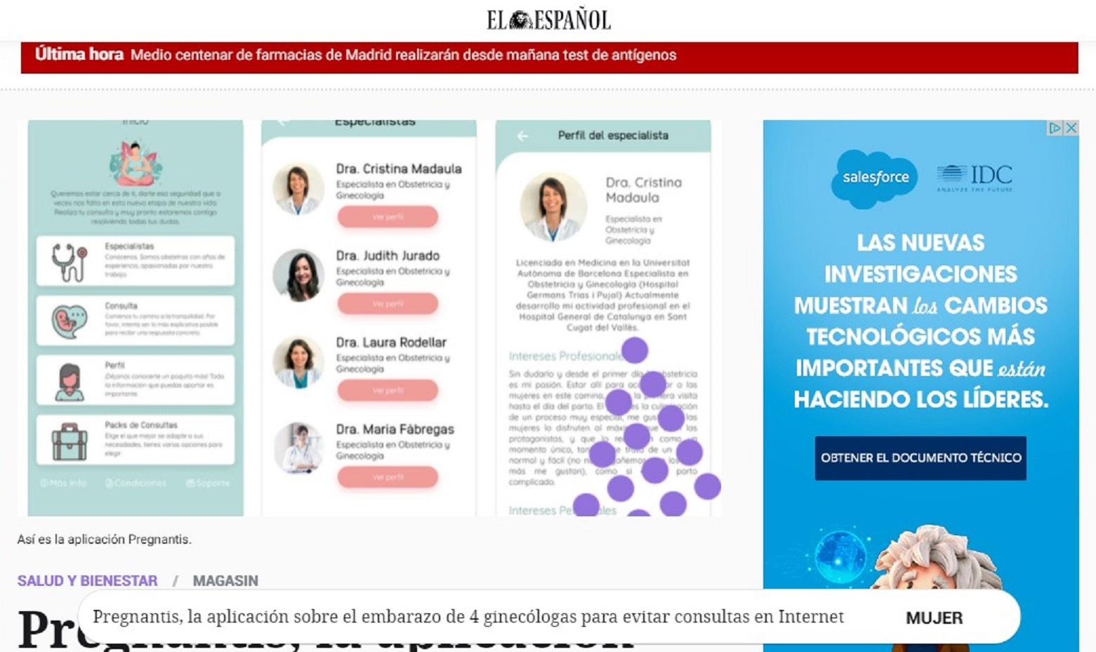 La APP Pregnantis en la sección MagasIN de El Español -14/07/2020 gabinete de prensa