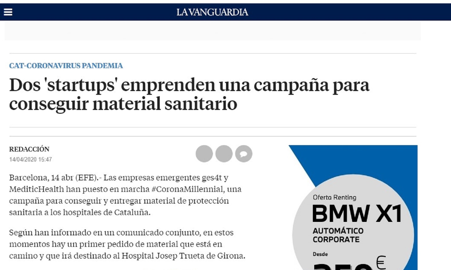Ges4t, en colaboración con MediticHealth en La Vanguardia -14/04/2020 gabinete de prensa