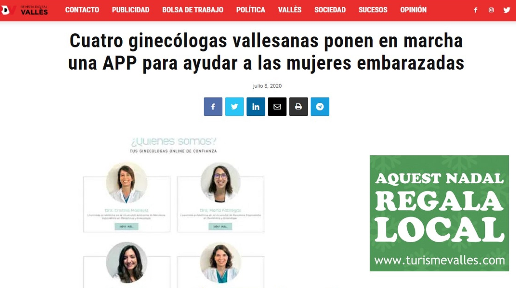 "Pregnantis en ""La Revista del Vallès"" - 08/07/2020 gabinete de prensa"