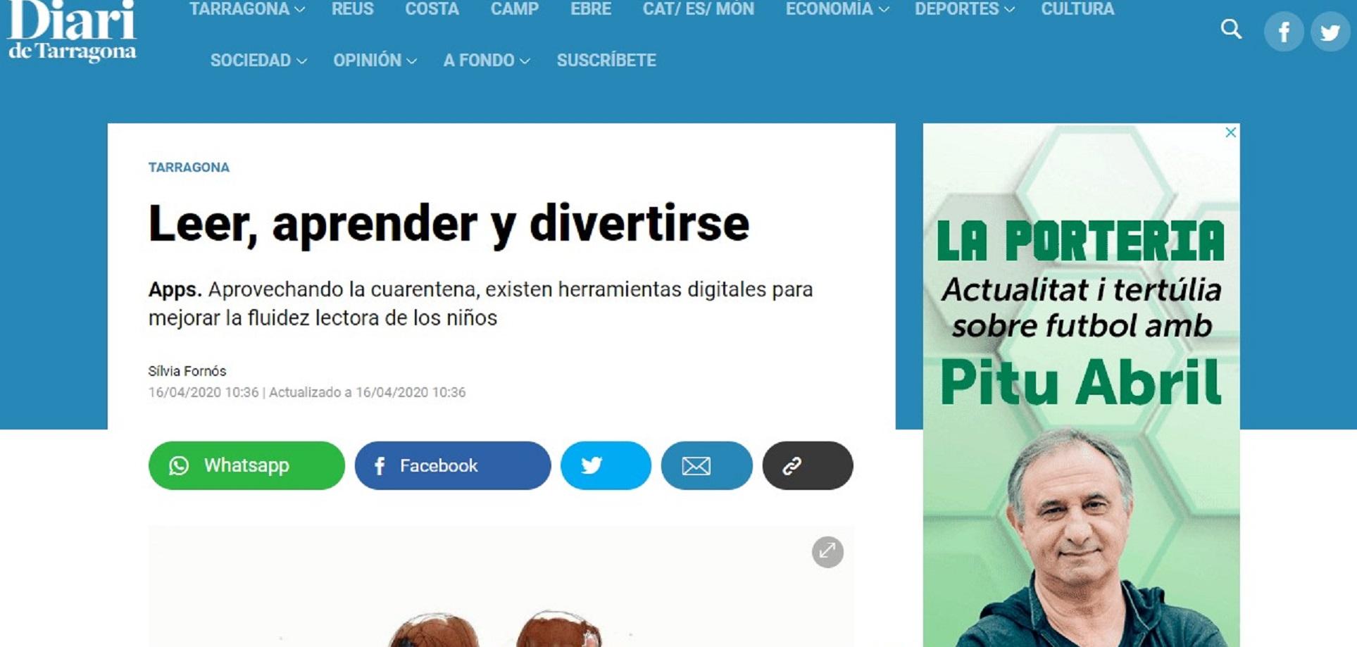 ReadUP by Glifing en el Diario de Tarragona -16/04/2020 gabinete de prensa