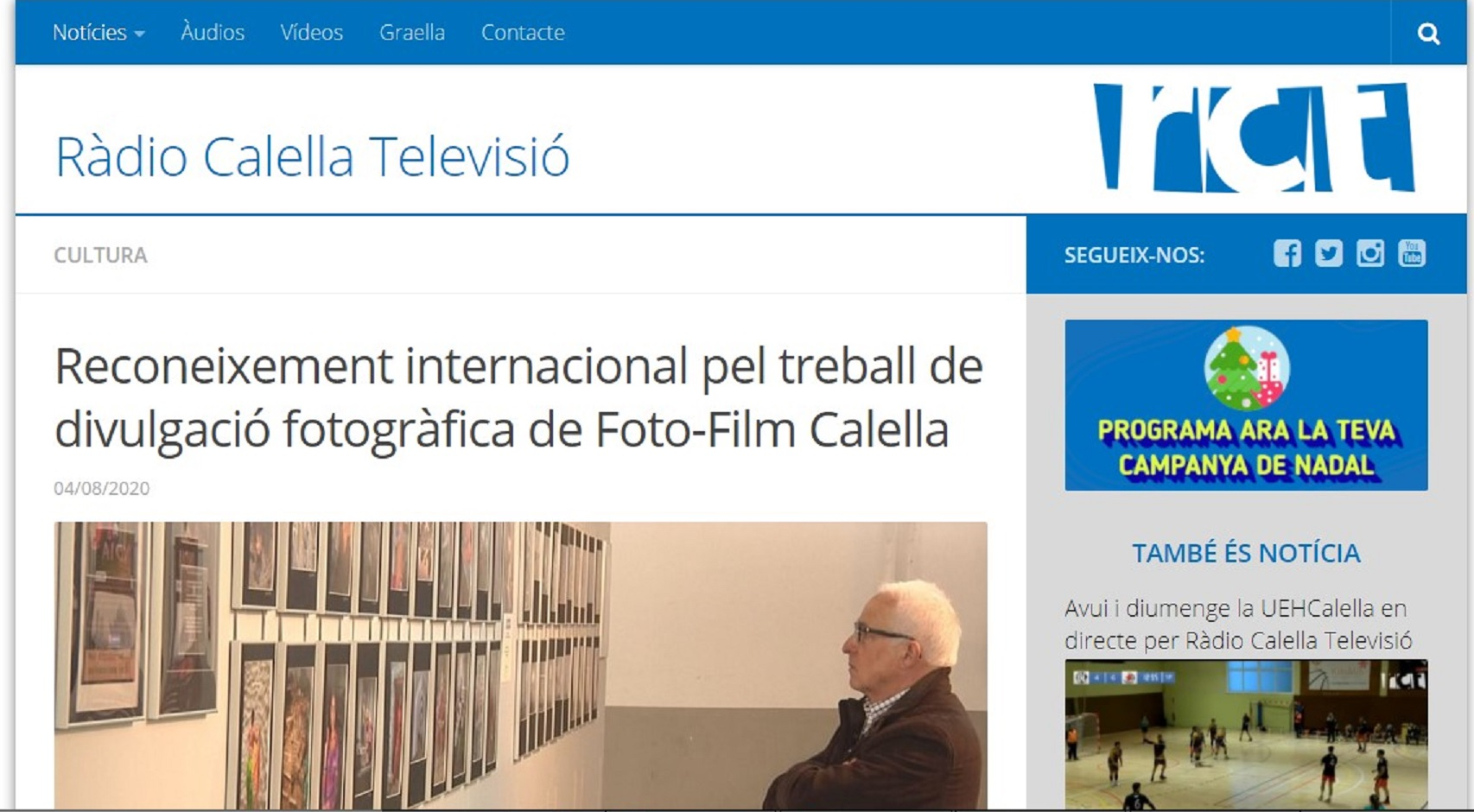 Foto-Film Calella en Radio Calella TV - 04/08/2020 gabinete de prensa
