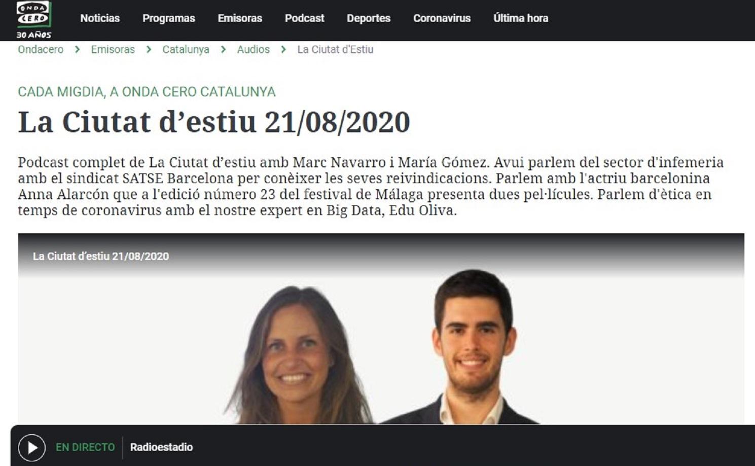 "MicroSensacions Teatrals en ""La ciutat d'estiu"" de Onda Cero en el minuto 14' 07"" - 21/08/2020 gabinete de prensa"