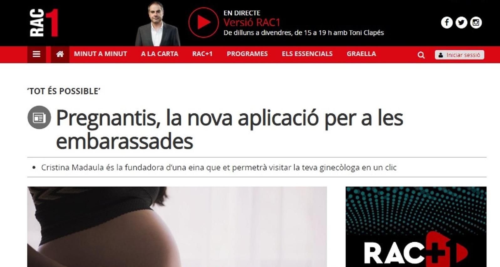"""Pregnantis en el programa """"Tot és possible"""" de RAC1 -13/07/2020 gabinete de prensa"""
