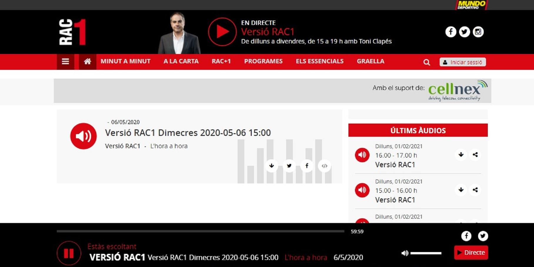 """Periodista Carlos Mesa en el programa """"Ocio Digital"""" de RAC1 en el minuto 22'00 - 06/05/2020 gabinete de prensa"""
