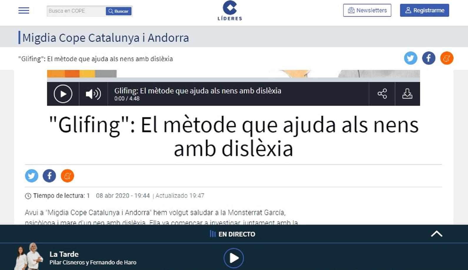 """Glifing en el programa """"Migdia Cope Catalunya i Andorra""""de la Cadena COPE - 08/04/2020 gabinete de prensa"""