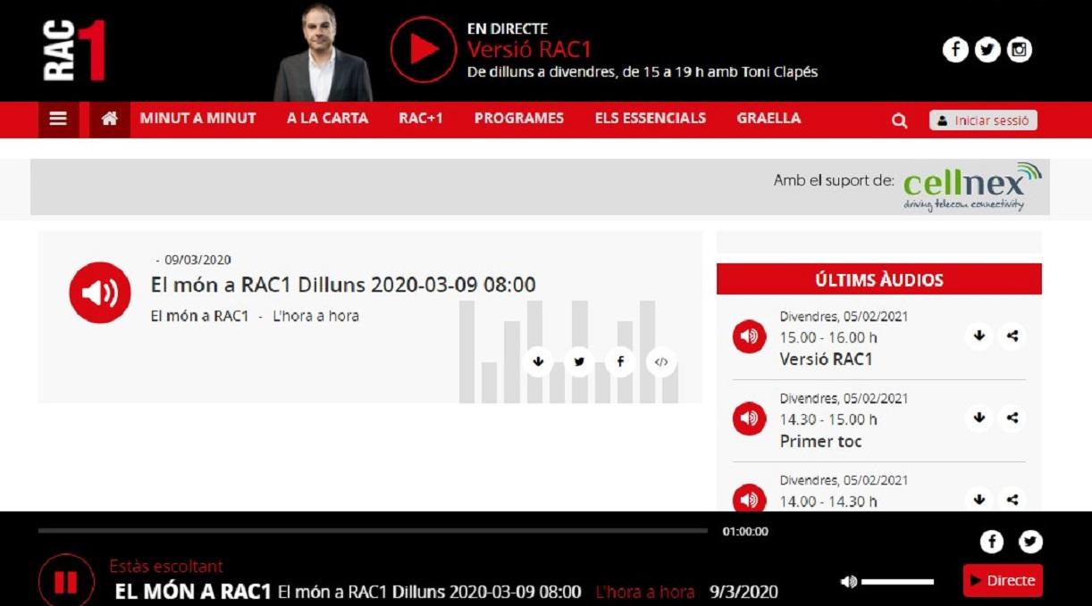 """Glifing en """" El món a RAC1"""" en el minuto 44'43""""- 09/03/2020 gabinete de prensa"""