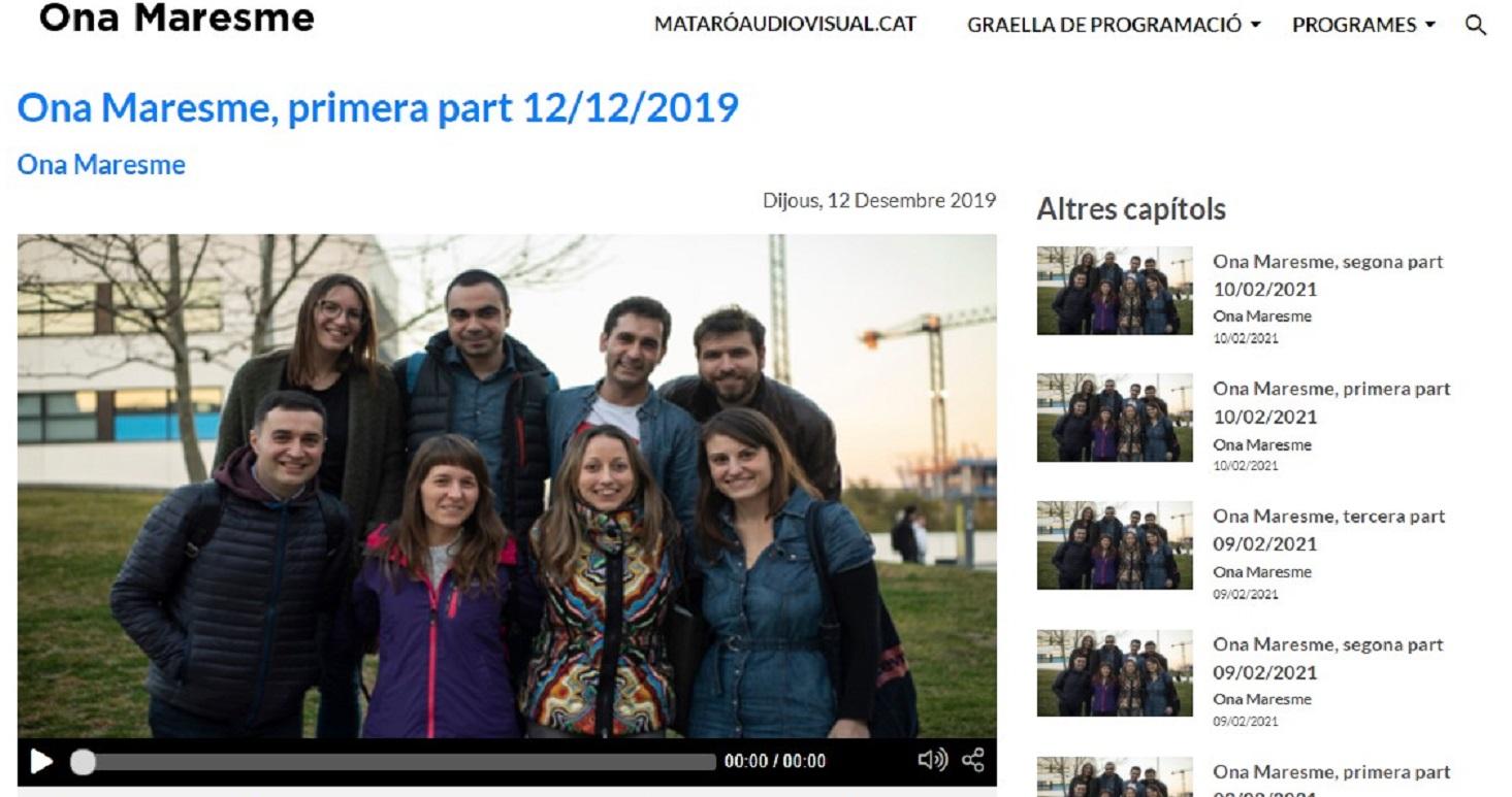 """Marta Carrasco en el programa """"Ona Maresme de La Xarxa""""en el minuto 31'32"""" -12/12/2019 gabinete de prensa"""