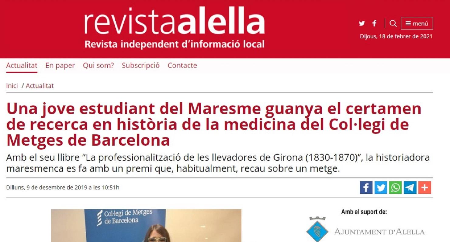 """Marta Carrasco en la """"Revistaalella"""" - 09/12/2019 gabinete de prensa"""