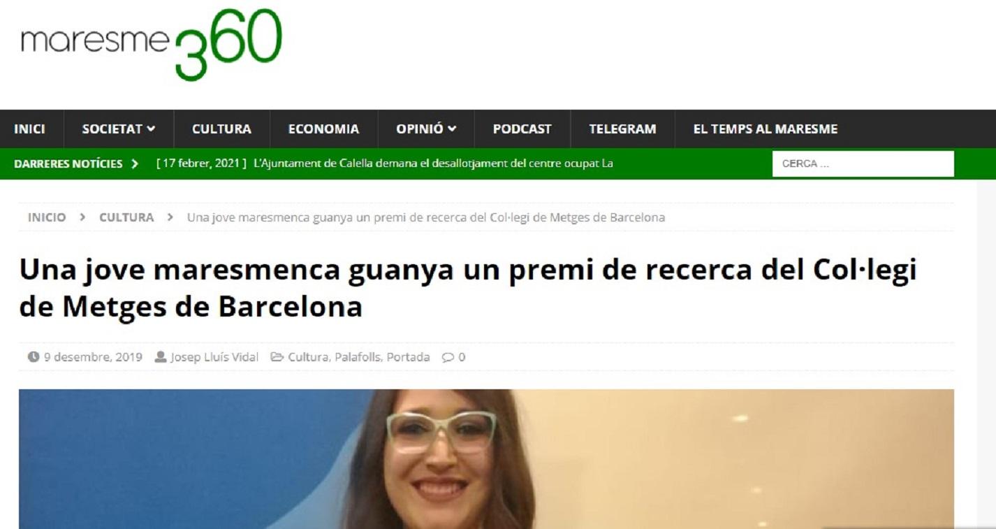 "Marta Carrasco, en ""Maresme360"" - 09/12/2019 gabinete de prensa"