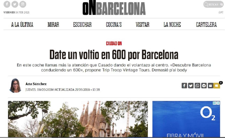 """Trip Troop en """"ON Barcelona"""" de El Periódico - 09/05/2019 gabinete de prensa"""