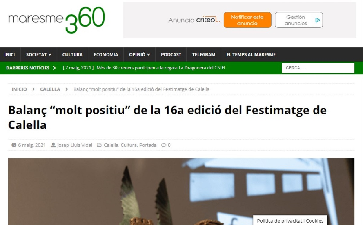 """FESTIMATGE en """"Maresme360"""" - 06/05/2021 gabinete de prensa"""
